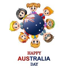 Children around the world concept australia day