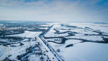 Winter field under snow