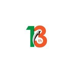 13 Year Anniversary Vector Template Design Illustration