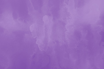 Violet ink and watercolor textures on white paper background. Paint leaks and ombre effects. Hand painted abstract image.