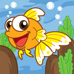 Gold fish cartoon, cartoon cute, animal cute