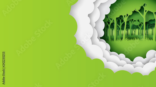 Eco green nature forest banner and template background