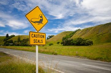 Road sign 'caution seals' , New Zealand