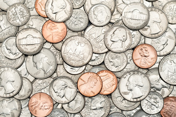 Various USA, American coins for business, money, financial concept background. Pile of Golden coin, silver coin, copper coin, quarters, nickels, dimes, pennies, fifty cent piece coins and dollar coins Fototapete