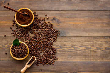 coffee bean on wooden table background top view mockup