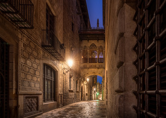 Bridge between buildings in Barri Gotic quarter
