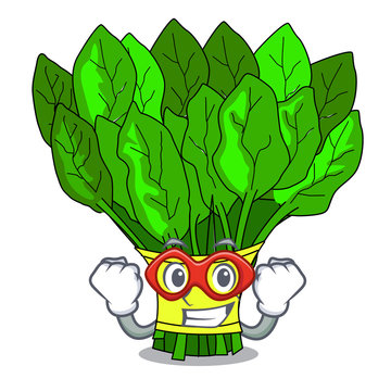 Super hero vegetable spinach on a cartoon plate