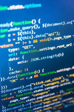 Software development. Trendy design, Computer codes operator development style. Developing programming and coding technologies. Javascript abstract computer script, random parts of program code.
