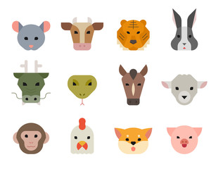 Animal of year Asia traditional concept. Animal faces illustration. flat design vector graphic style.