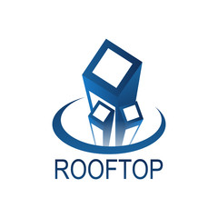 Roof top logo concept design template in blue color
