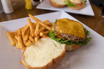 Hamburger with fries