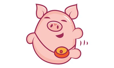 Vector cartoon illustration of cute pig with a purse. Isolated on white background.