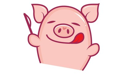 Vector cartoon illustration of cute pig showing tongue out. Isolated on white background.