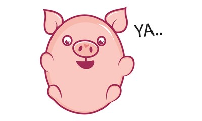 Vector cartoon illustration of cute pig saying ya. Isolated on white background.