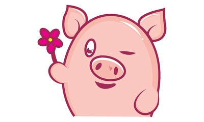 Vector cartoon illustration of cute pig wink eye and with flower. Isolated on white background.