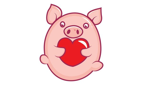 Vector cartoon illustration of cute pig with heart. Isolated on white background.