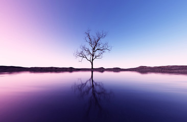 3d rendering of lonely dead tree in seashore landscape