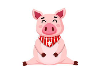 Cute cartoon fat Pig characters isolated on white background. Vector Illustration cartoon style.