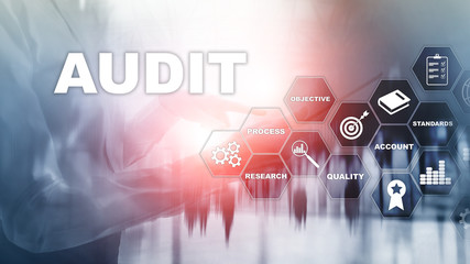 Audit business and finance concept. nalysis Annual Financial Statements, Analyze return on investment. Mixed media abstract background.