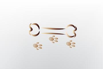 Bone and footprint dog stylized logo icon