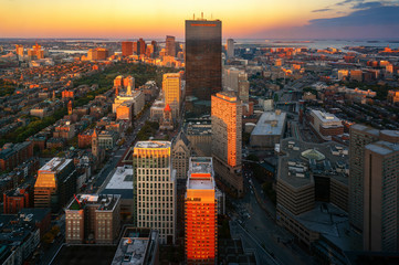 Wall Mural - Aerial view of Boston in Massachusetts