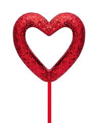 Red heart frame isolated on white background. Valentine heart with stick. ( Clipping path )