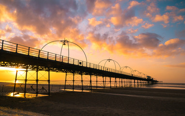 Sunset on the beach in Southport, England.