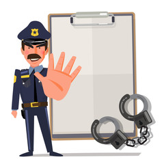 policeman holds up hand in stop gesture. character design - vector illustration