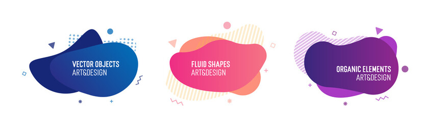Fototapeta Set of trendy colorful and glowy fluid shapes. Vector geometric template elements for your own projects