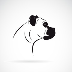 Vector of a dog head design (boxer) on white background. Pet. Animal. Easy editable layered vector illustration.