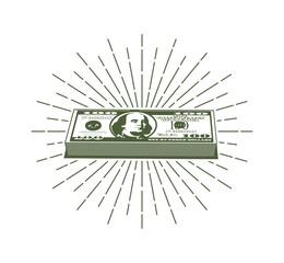 Bundle of hundred dollar bills and retro hipster sunburst around.