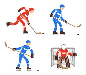 Simple color hockey player and goalkeeper icon. Pictogram people.