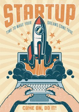 Vintage startup poster with rocket taking off from an open laptop. Grunge worn texture on separate layer.