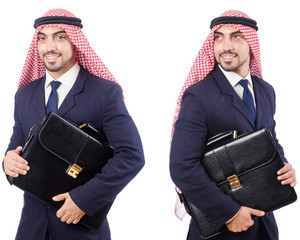 Arab man with bag isolated on white