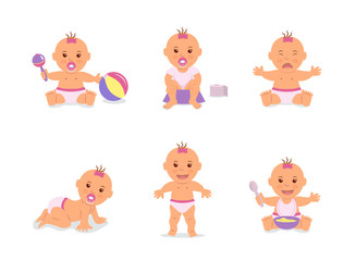 Cartoon set with cute infant in diaper. Happy baby playing with toys, baby learning to walk, child crying, infant sitting on potty, child crawling on the floor. Vector illustration in flat style.