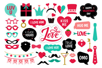 Valentine's Day photo booth props photobooth set