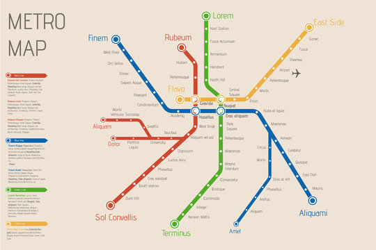 Realistic city  metro  map. Vector background illustration. Abst