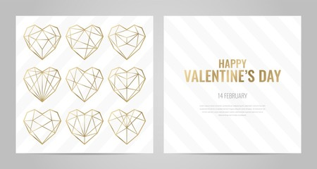 Luxury Valentines Day poster template with gold frame. Invitation template. Geometric shape.