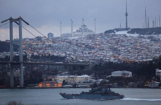 The Russian Navy's large landing ship Caesar Kunikov sails in the Bosphorus towards the Black Sea, in Istanbul