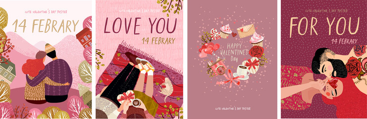 cute posters, valentines day greetings, heart shape frame, vector illustration of a couple in love. Flyers, invitation, poster, brochure, banner.