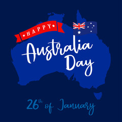 Happy Australia Day lettering on blue map, greeting card. Vector illustration for 26th january Australia day calligraphy banner with national flag and map