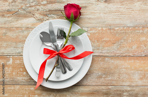 Valentines Day And Romantic Dinner Concept Red Rose Flower On Set