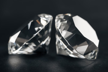 selective focus of pure diamonds on black background