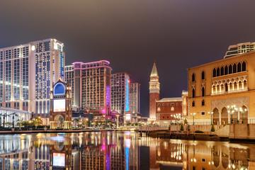 Amazing night view of hotels and casinos in Cotai, Macau