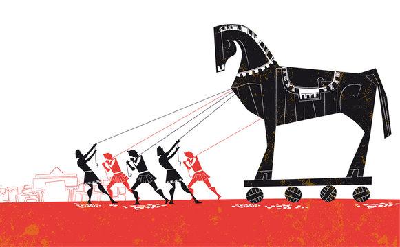 troy horse vector illustration