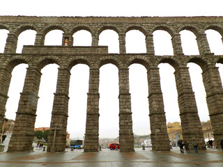 Breathtaking View of the Massive Roman Aqueduct in Segovia, Spain, Europe
