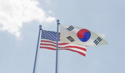 USA and South Korea, two flags waving against blue sky. 3d image