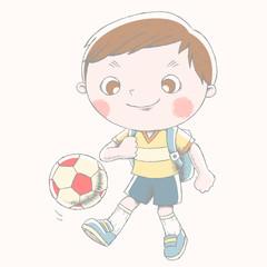 Cute boy playing soccer