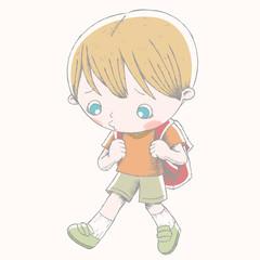 Cute boy shows sad expression