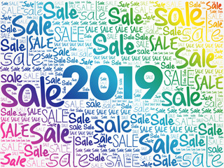 2019 Sale word cloud collage, business concept background